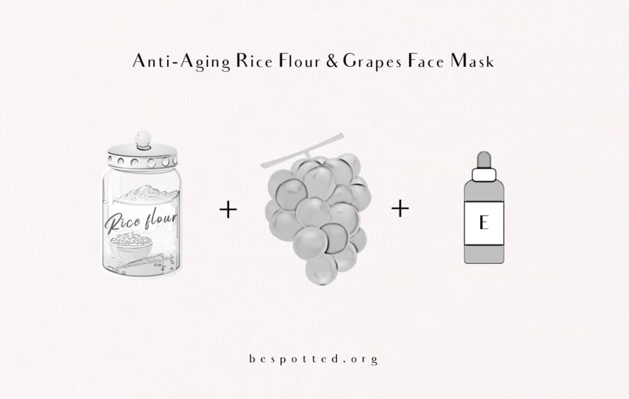 Instructions on how to make an anti-aging face mask with rice flour, grapes and vitamin E oil