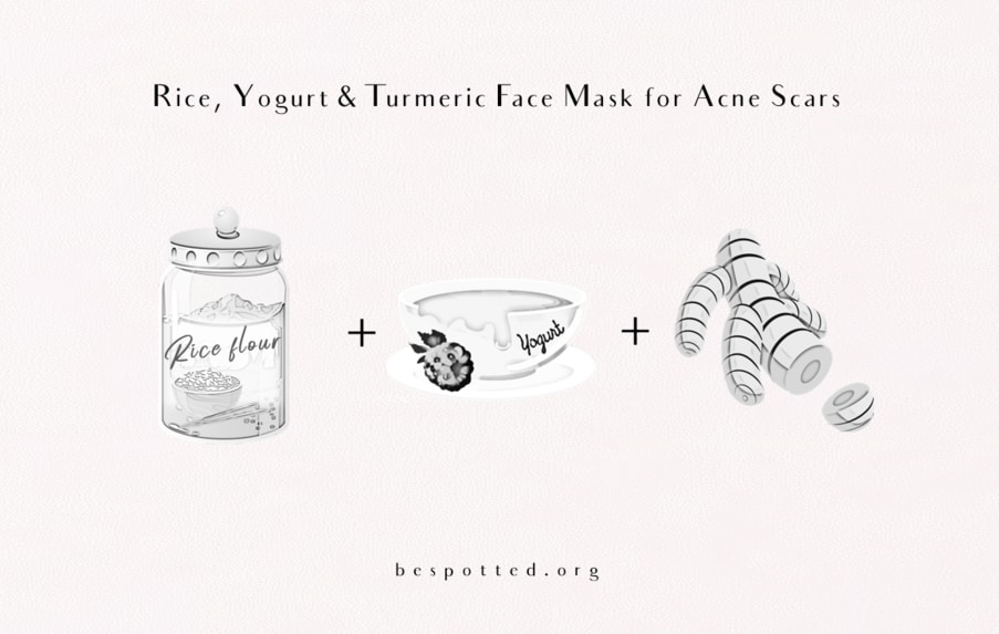 The ingredients for a rice, yogurt and turmeric face mask