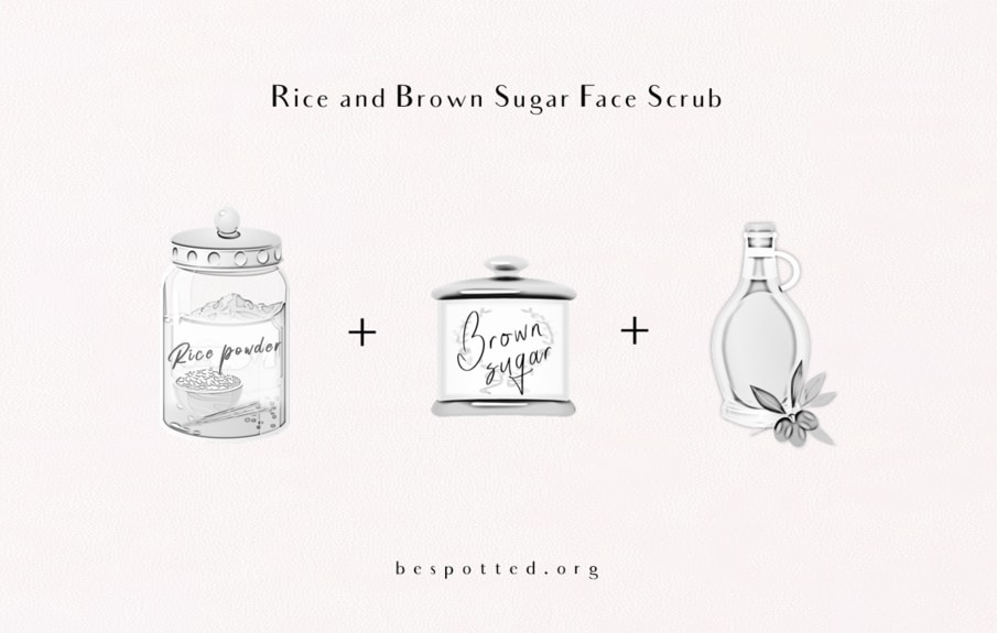 All the ingredients for a rice and brown sugar face scrub
