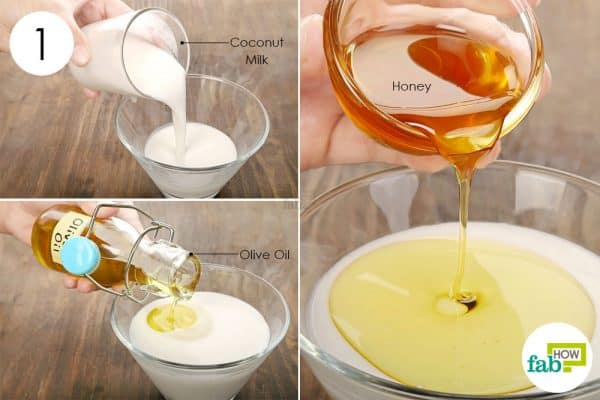 mix coconut milk, honey and olive oil to make olive oil hair mask