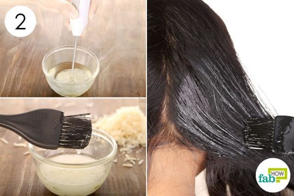 Blend the ingredients and apply on your hair to make coconut oil hair mask