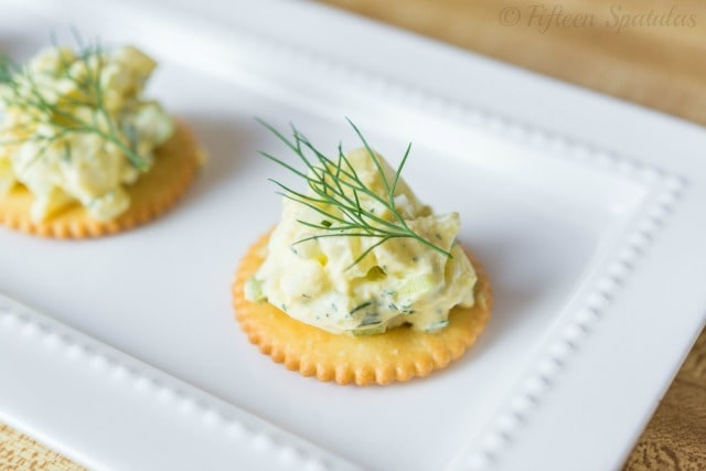 Egg Salad on a Cracker with Dill Sprig