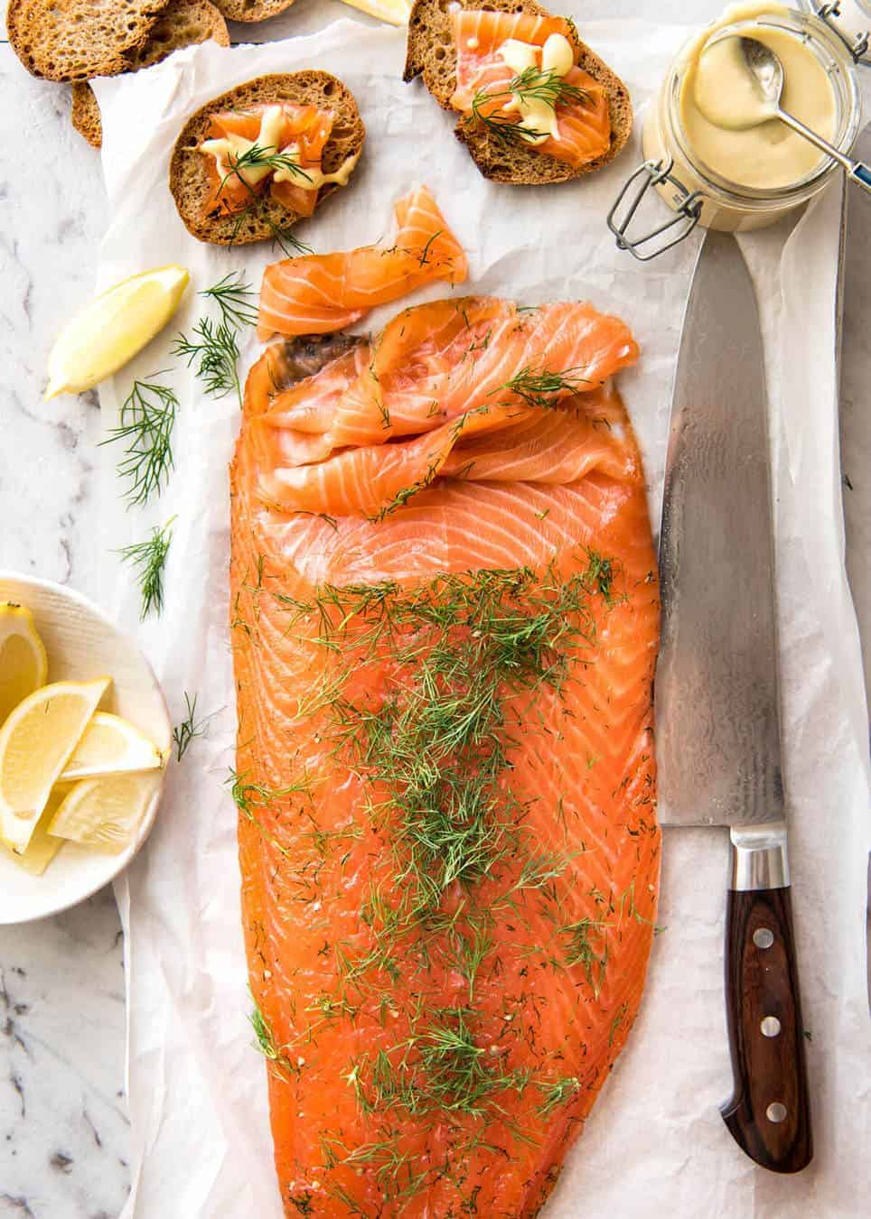 Homemade Cured Salmon Gravlax is arguably the easiest luxury food to make at home at a fraction of the cost of store bought! recipetineats.com